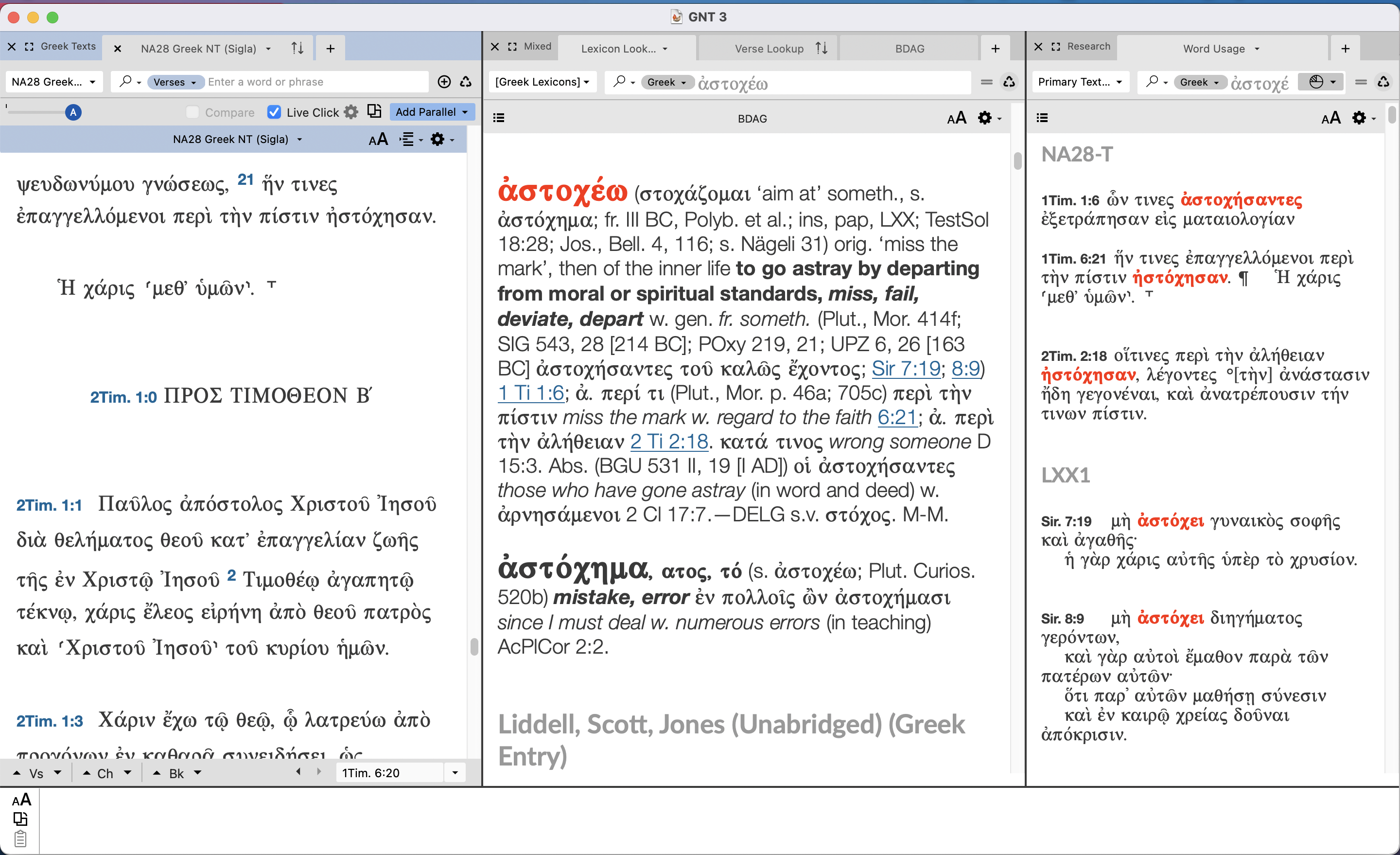 LIve Click on a word for Lexicons and Concordances