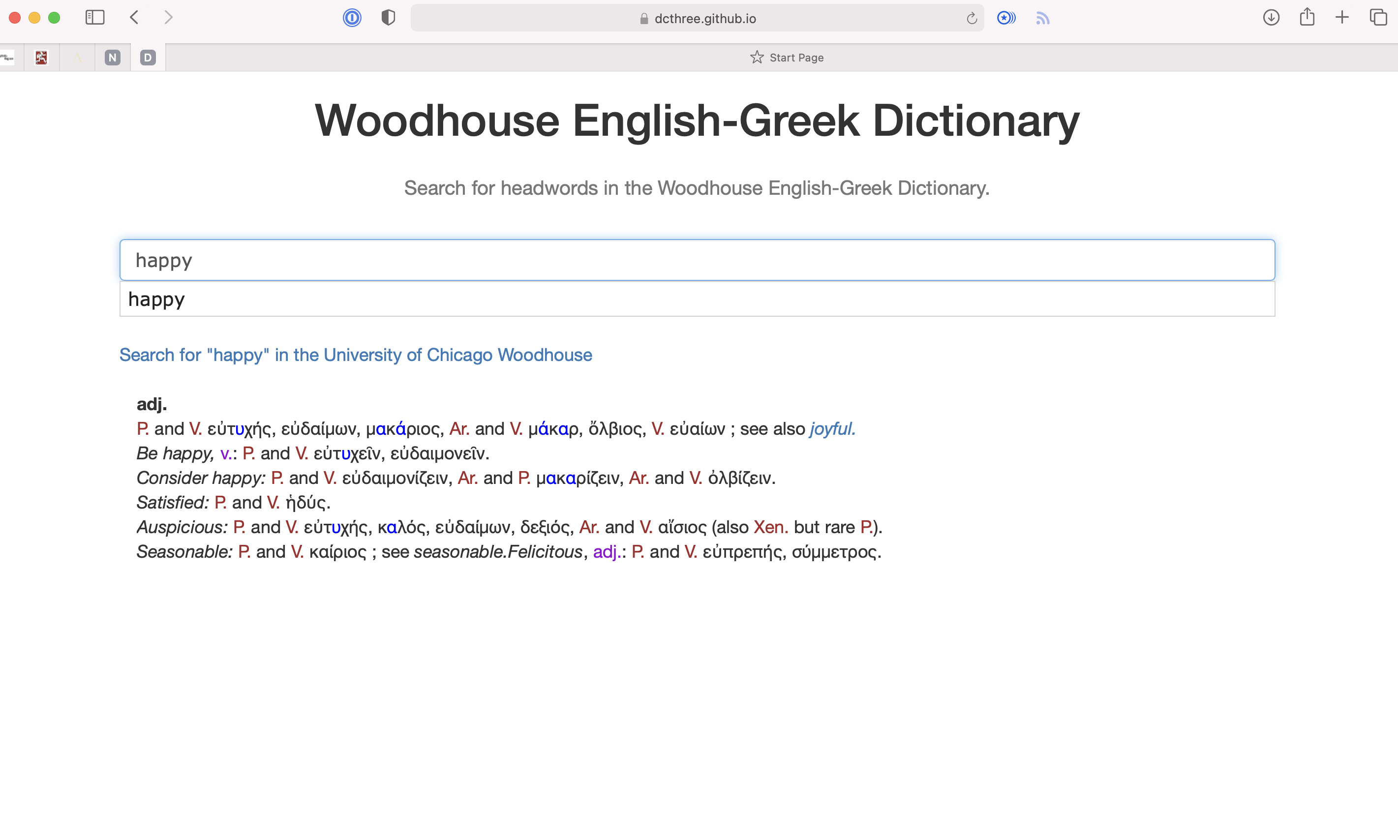 Woodhouse for English-Greek