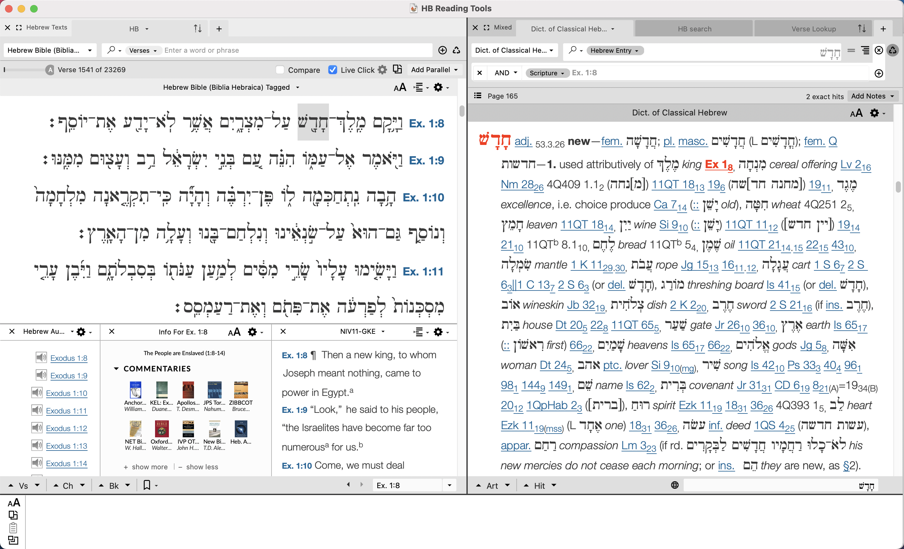 triple-click means highlighted verse references