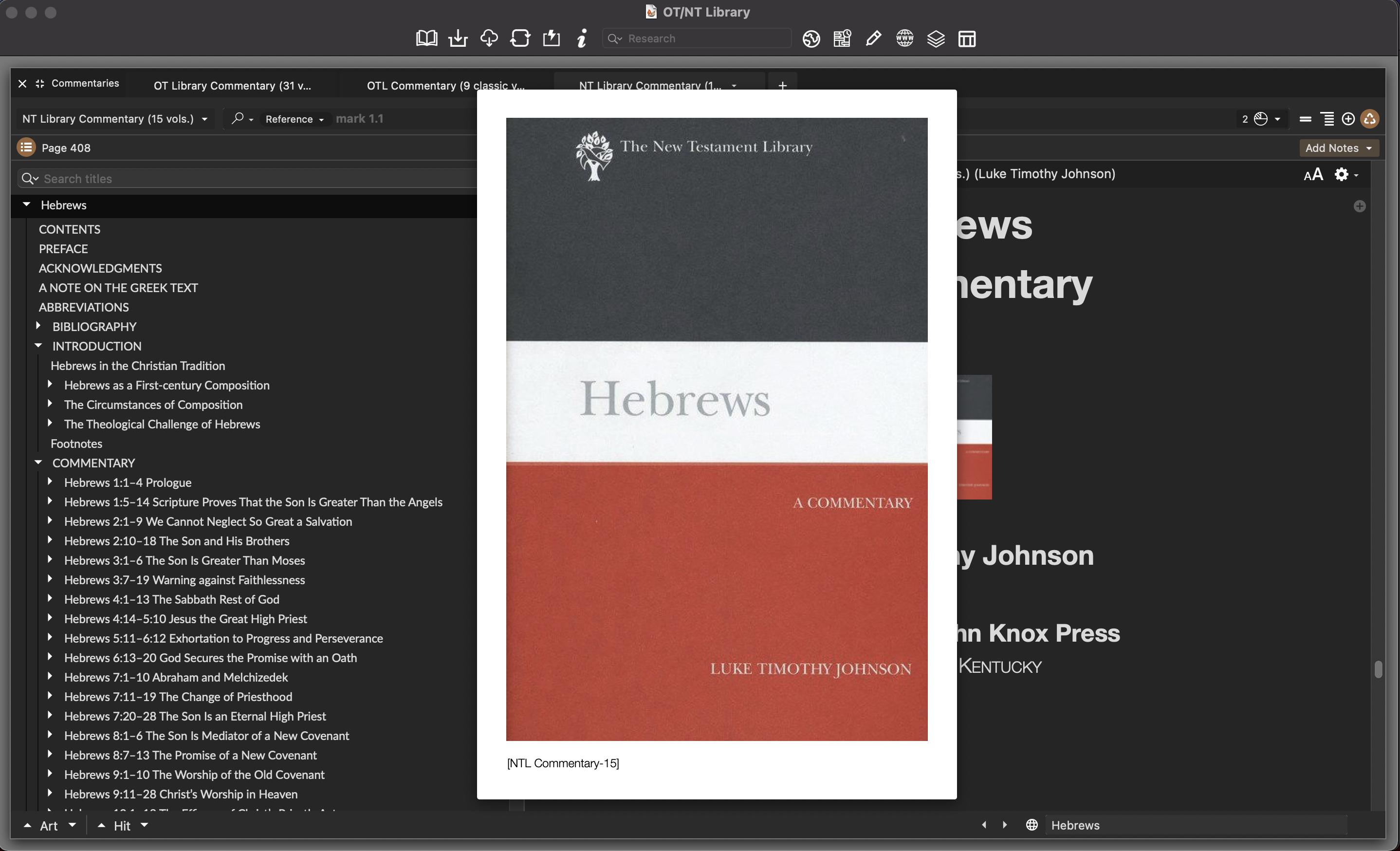 Luke Timothy Johnson on Hebrews –Dark Mode in Accordance