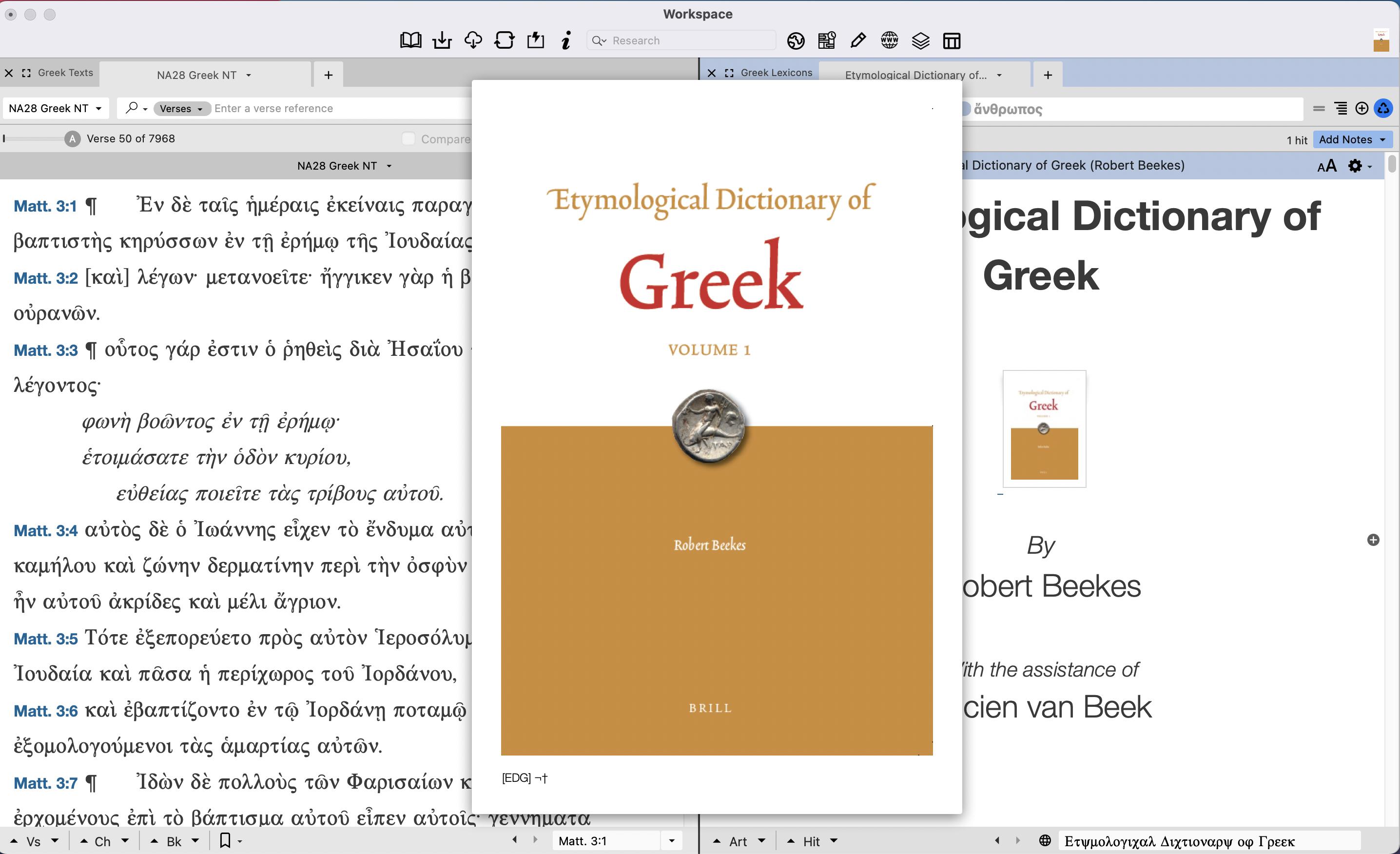 Beekes' Etymological Dictionary of Greek in Accordance
