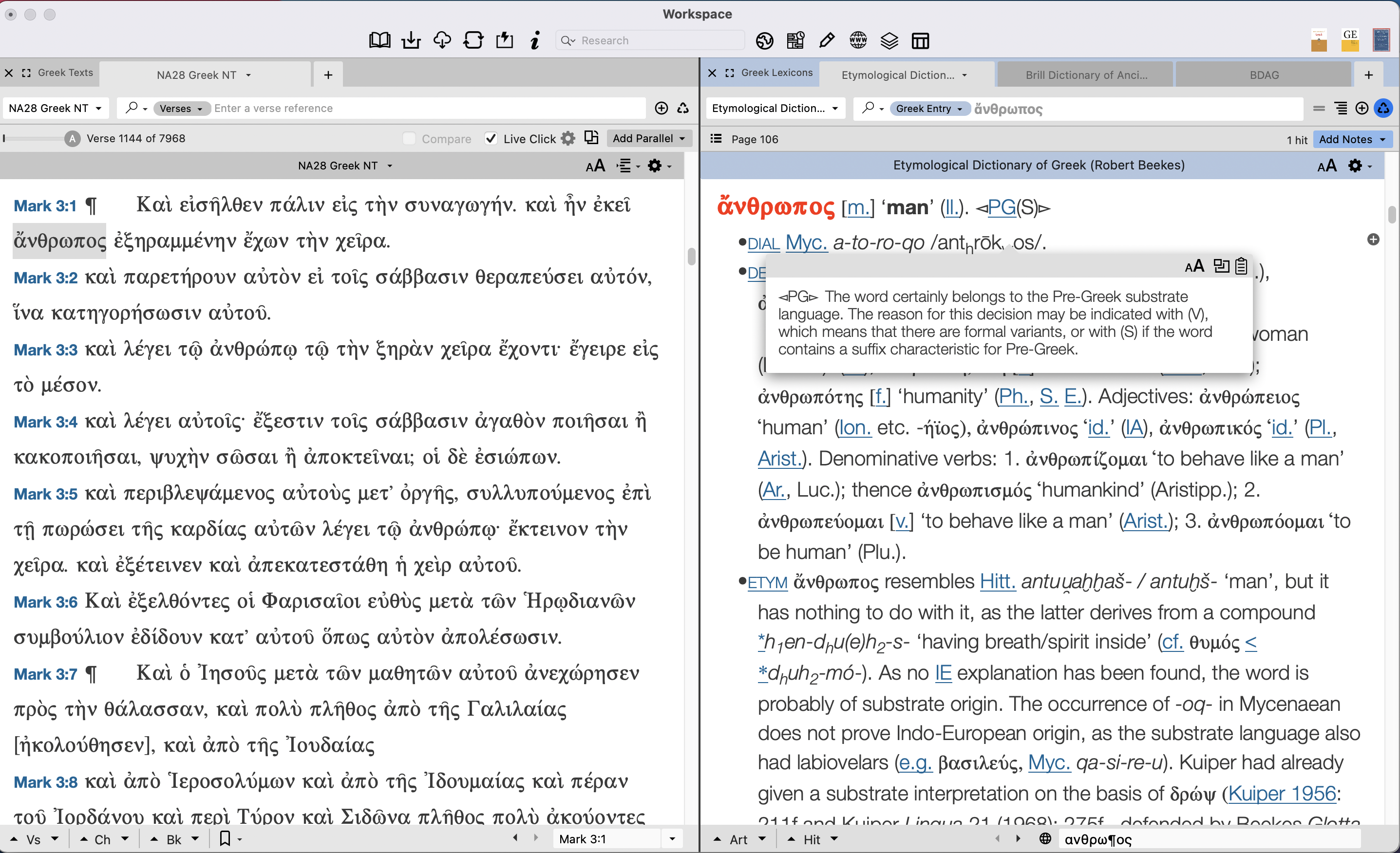 hyperlinked abbreviations for word origin classifications in Beekes
